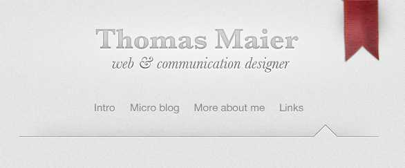 I really like the header (and overall design in general) on Thomas Maier's website.
